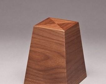 Cremation keepsake - Walnut Obelisk keepsake - Pet Urn - Memorial urn