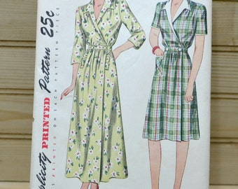 Vintage Simplicity Pattern #2157  1940's Women Housecoat House Dress Uncut Factory Fold Made in USA Sewing Supply Collectible