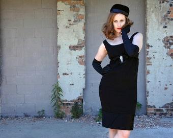 Black empire-waist formal dress, sleeveless 1960s wiggle, rhinestones, 1950s S