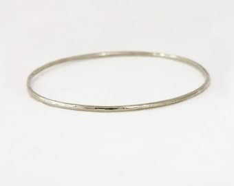 2mm 18k White Gold Hammered Bangle Bracelet - Hammered White Gold Bracelet - Handmade Bangle Bracelet - Solid 18k Gold