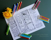Coloring in Bible Bookmarks. Printable Coloring Book Page. Instant Download PDF. Adult and Children Coloring page.