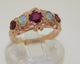 Solid 14K Rose Gold High Quality Natural Ruby & Opal Antique Style Ring - Made to Order