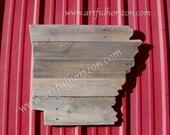 State Wood Arkansas Reclaimed Wood Cutout Custom Primitive Folk Art Choose Home State Customizable