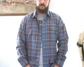 Vintage 80s LEE Thin Plaid Shirt Pale Gray Blue Men's Large Poly Cotton