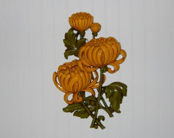 Rare Vintage Syroco Wall Hanging 1962 Mums Wall Plaque Chrysanthemum Wall Decor Fall Decor On SALE