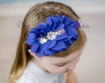 Purple Chiffon Fabric Flower Headband Newborn Baby Dressy Pearl Rhinestone Hairbow Little Girls Soft  Hair Bow Fancy Jewel Piece Accessory