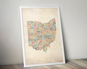 Ohio by County - Typography Print