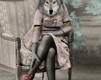 Red's Shoes, Wolf Art, Anthropomorphic, Wildlife Art, Altered Photo, Photo Collage, Unusual Gift, Wolf Print, Red Riding Hood, Wolf Print