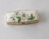 Vintage Pillbox/ Porcelain/ Floral/ Magnolia/ Container/ Pill Case/ 3 Compartment/  Made in Japan