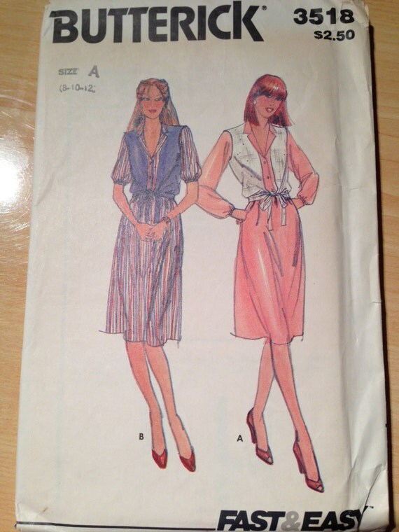Vintage 80s Butterick 3518 Fast and Easy Sewing Pattern Misses Dress and Vest Uncut Size 8-12