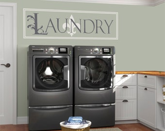 Laundry Room Decal, Laundry Vinyl Decal, Laundry Room Decor, Laundry Sign, Laundry Art, Fleur De Leis, Fancy Laundry - WD0140