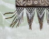 Vintage French Steel Cut Micro Beaded Metal Filigree Frame Drape Purse w/ Chain - Art Nouveau