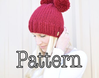 Knitting PATTERN, Basic Knitted Hat, All Sizes Knitting Pattern, Childrens Knitted Hat Pattern || The Molly Double, and Single Hat Pattern