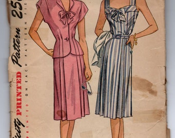 "1940's Simplicity One-Piece Sun Dress and Jacket Pattern - Bust 38"" - No. 1977"