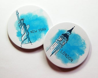 Set of Coasters, Travel Coasters, Drink Coasters, New York, London, Hostess Gift, Home Decor, Coasters, Big Ben, Statue of Liberty (5249a)