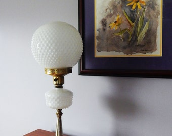 Tall Hobnail Milk Glass Globe Lamp