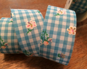 Blue Gingham Ribbon, Wide Blue and White Checked Ribbon with Pink and Yellow Flowers, Vintage Trim - By the Yard