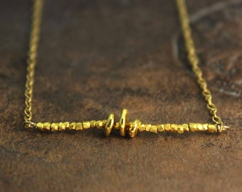 Gold Nugget Bar Necklace. Delicate Necklace in Gold Filled or Pure Silver. Layering Necklace. NS-1751-2