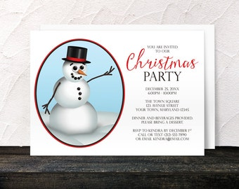 Snowman Christmas Party Invitations - Classy and Cute Modern Illustrated Top hat Snowman for your Holiday or Winter Party - Printed