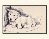 ANtique MATTED Dog Print, 1930s Terrier Lucy Dawson, 5x7 Mounted Print Puppy Print, black & white Wall Decor, Home Interior Design, B-5