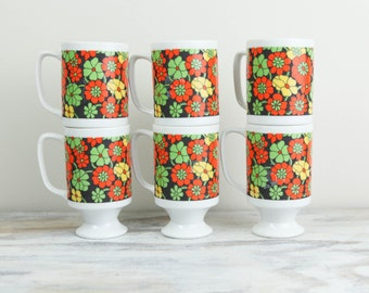 Vintage Mug Tree Set, Porcelain mugs in 1970s Colors  (set of 6 mugs and mug tree). (See Item Details for full description).