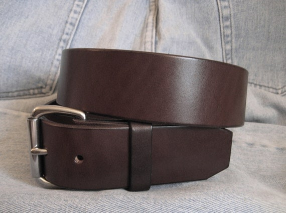 mens brown leather belt heavy duty leather by angelleathershop