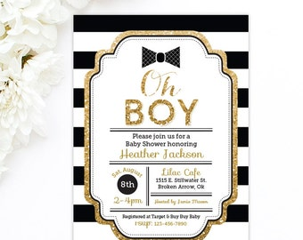 Bow tie baby shower - Little Man Baby Shower Invitation - Gold Baby Shower Invitation - Oh Boy - Boy Baby Shower - Black & Gold printable
