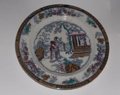 Antique CHINESE PATTERN Polychrome Staffordshire Plate (box 3)