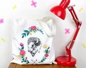Floral Bison Canvas Tote Bag