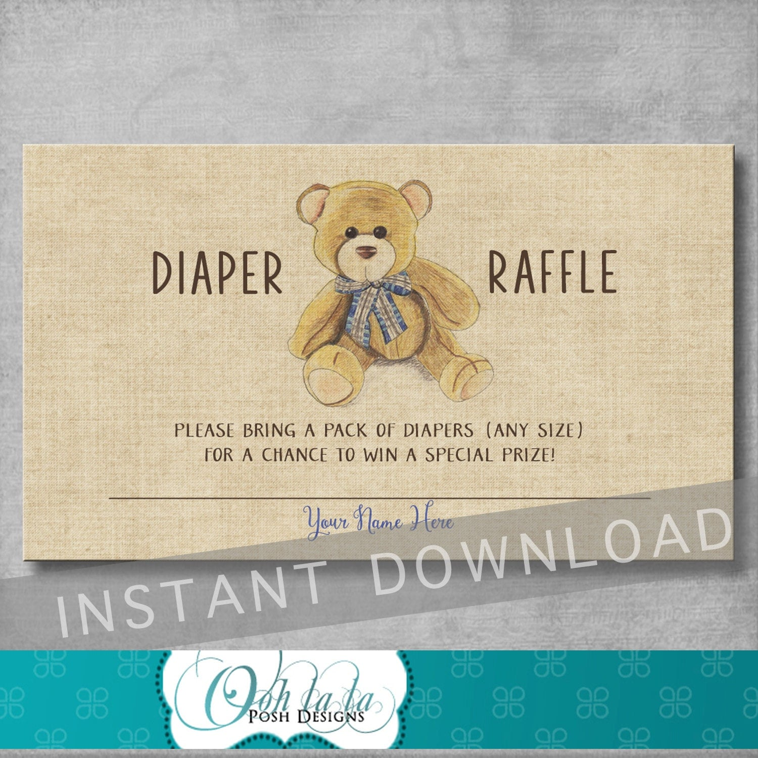 Vintage Teddy Bear Baby Shower Diaper Raffle Ticket Insert