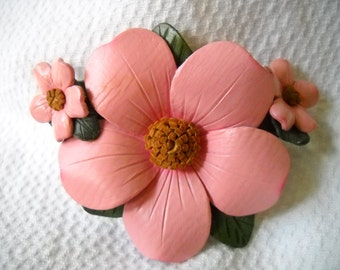 Vintage Leather Earrings and Brooch, Pink Wild Rose Brooch and Earrings, Flower Earrings and Pin, Pink Flower Jewelry Set, Leather Flowers