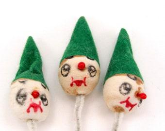 Vintage Spun Cotton Elf Clown Heads Craft Supply 1950s