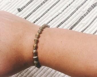 Gold Paper Bead Bracelet  (Single Strand)