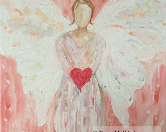 Angel of Love Encouragement Painting Guardian Angel Thank You Gift Art Canvas 11 x 14
