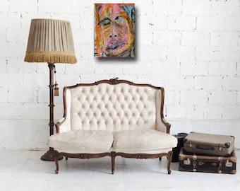 painting on paper, fine art, abstract dark art, outsider art, figurative woman, original paintings, contemporary art, pink, Cheryl Wasilow