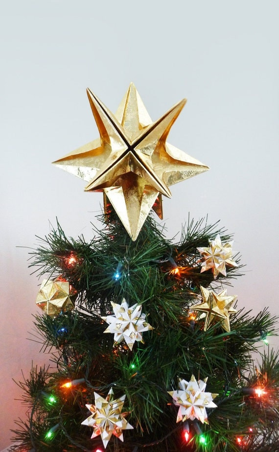 PAPYRUS Origami Christmas Tree Topper Gold Star Classic - Make A Christmas Star Tree Topper