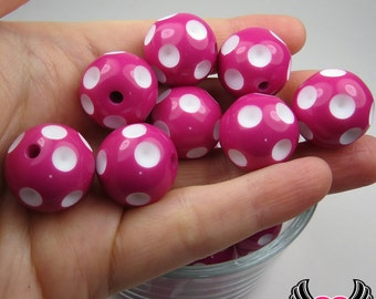 20mm POLKA DOT BEADS, Fuchsia Pink chunky bubblegum beads, 10 ct gumball beads, chunky beads, round acrylic bead, chunky necklace beads,