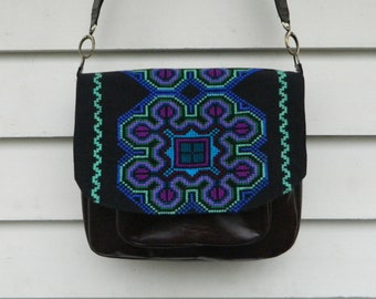 Recycled Leather Cross Body Bag Large Shoulder Bag Satchel with Upcycled Vibrant Cross Stitch