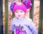 Pom Pom Hat - Pink Baby Beanie with poms