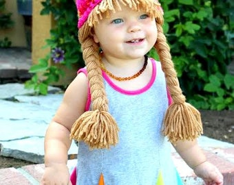 READY TO SHIP-  Baby Hat Cabbage Patch Hat Pigtail WIg Costume Photo Props Halloween costume