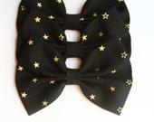 Starr Hair Bow - Black & Metallic Gold Star Pattern Hair Bow with Clip