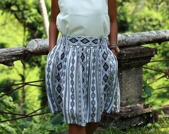 Black and White Stripe Midi Skirt, Women's Skirt, Shirred Skirt, Summer skirt