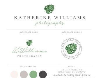 Mini Branding Package, Photography Logo and Watermark, Watercolor Monstera Leaf Premade Marketing Kit bp70
