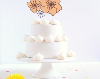 Paper Flower Cake Topper - Papercut Flower Cake Decoration - Wedding Cake Topper - Autumn Cake Decoration