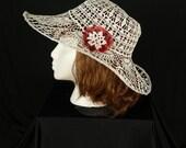 Garden party hats Victorian crochet lace hat Crocheted wide brim hat Bohemian wedding hat Edwardian hat Derby hats Women's cotton sun hat