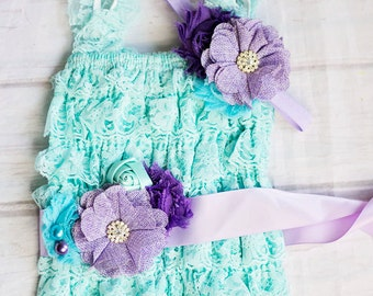 Mermaid Birthday Outfit...Under the Sea Birthday Outfit. ..Cake Smash Outfit.. Aqua Lavender Purple Lace Ruffle Lace Romper