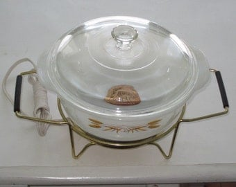 Vintage Fire King WHEAT Casserole Dish with Lid and Electric Hot Plate Unused Original Label