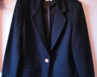 Vintage Black Wool Jacket Size 8 From the 1990s