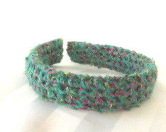 Teal Crochet Headband - Fabric Hair Accessory - Sweater Headband - Hair Accent Fabric
