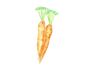 Carrots Watercolor Print from Original Painting, Kitchen Home Decor, Vegetable Wall Art, Garden Harvest